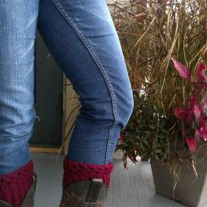 Crochet Boot Cuff Leg warmer Burgun..