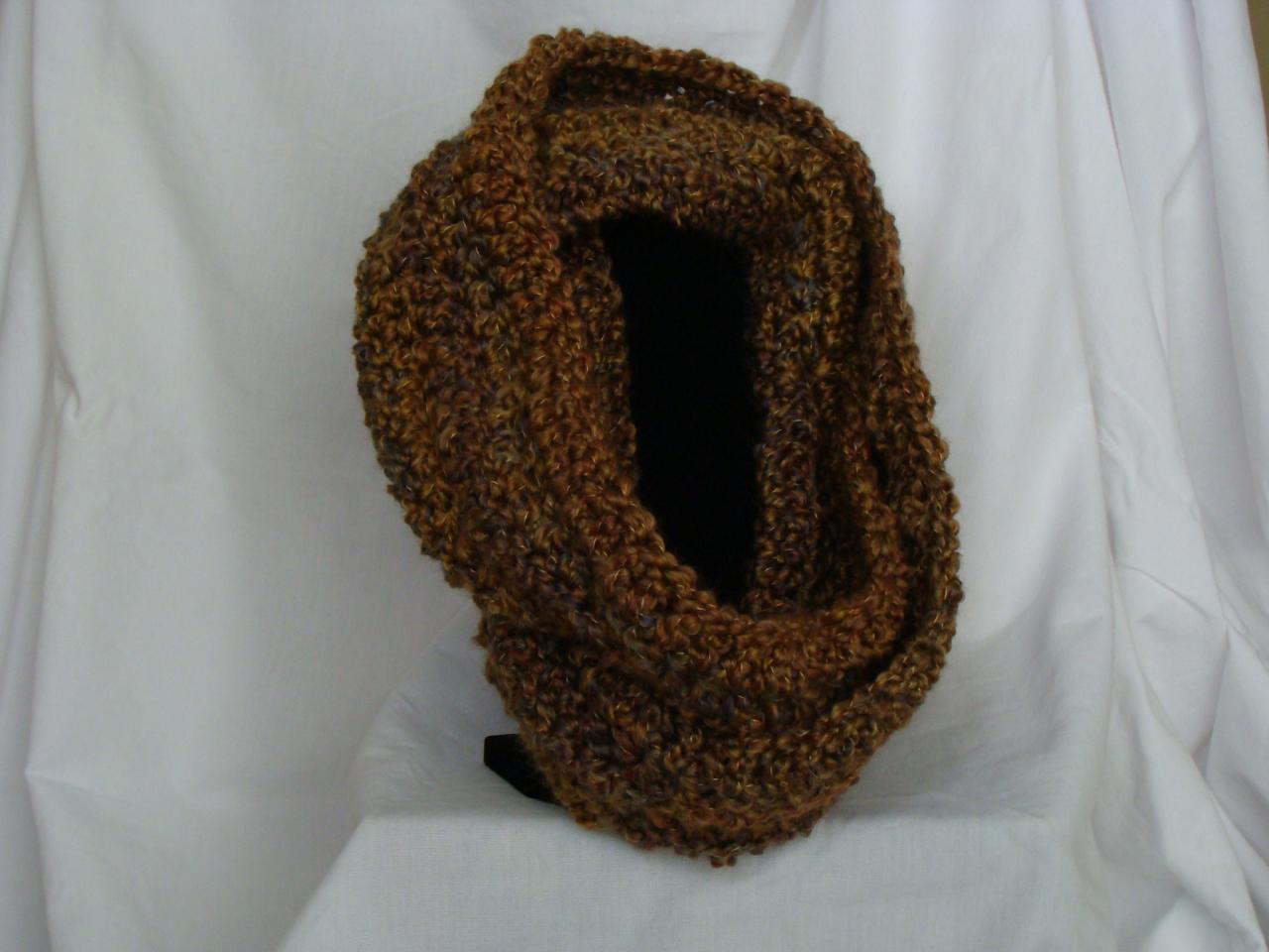 Crochet Infinity Scarf Earth Tone