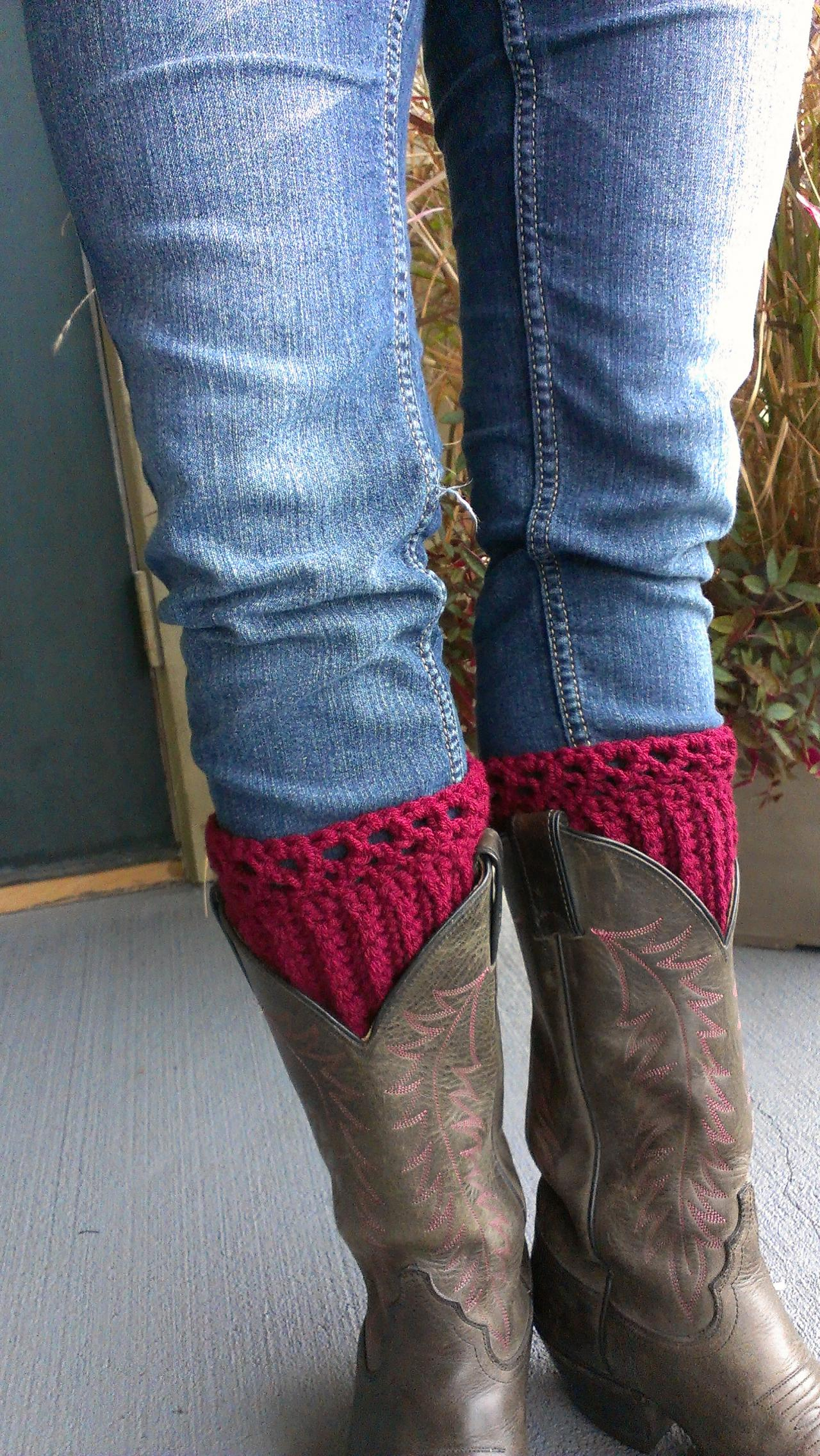 Crochet Boot Cuff Leg warmer Burgundy