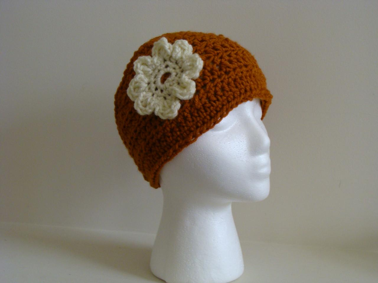 Crochet Head Warmer Rust Orange and Cream Do Bob Diva