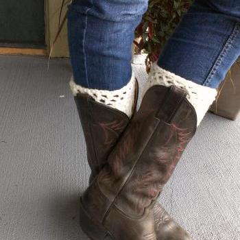 Crochet Boot Cuff Leg warmer Cream/Ivory