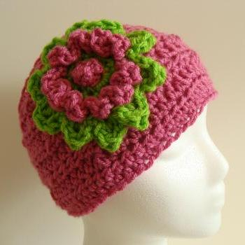 Crochet Head Warmer Hot pink and lime green Do Bob Diva