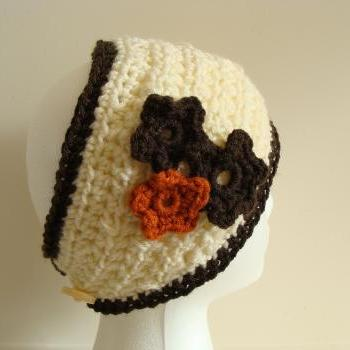 Crochet Head Warmer Rust, Cream and Chocolate flower trio Do Bob Diva