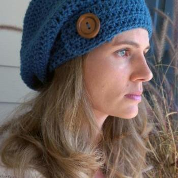 Antique Teal Crocheted Slouchy Beanie with Button